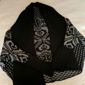Cowl and shrug sweater with bat wing sleeves